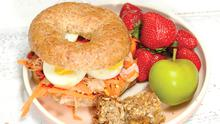 Carrot, Ham and Peanut Butter Bagel