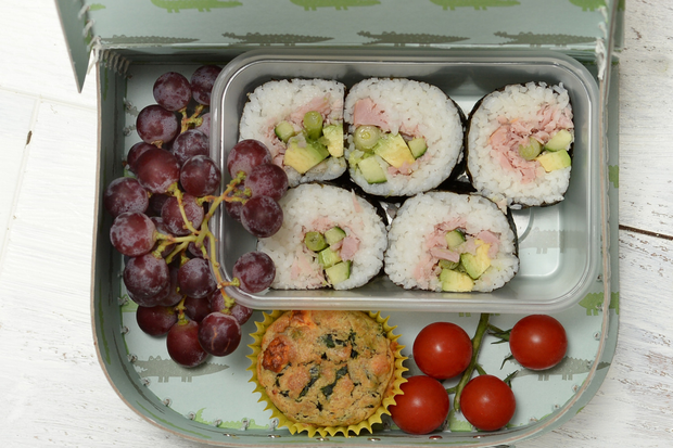 Sushi Roll Stuffed with Cooked Ham and Avocado