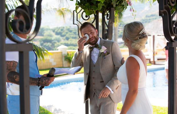 Celebrations at the wedding of Fair City star, George McMahon and Rachel Smyth, in Nerja, southern Spain. The couple were married with the help of Boyzone singer Keith Duffy. PIC: Mark Beltran/Solarpix.com
