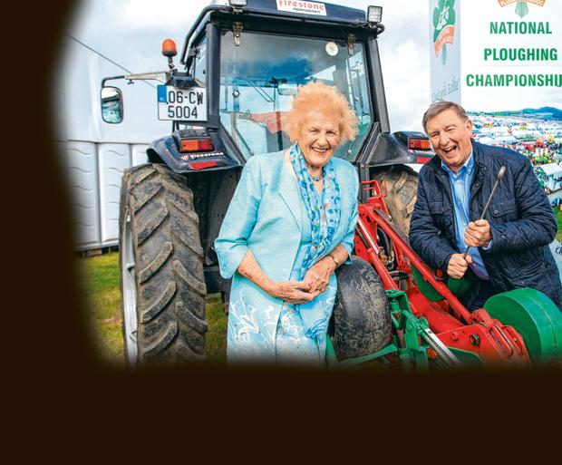 Anna May McHugh and Fr Brian Darcy at the launch of the NAtional Ploughing Championships in Fenagh Co Carlow Pic:Mark Condren