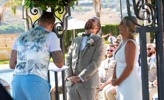 Pics show celebrations at the wedding of Fair City star, George McMahon and Rachel Smyth, in Nerja, southern Spain. The couple were married with the help of Boyzone singer Keith Duffy. PIC: Mark Beltran/Solarpix.com