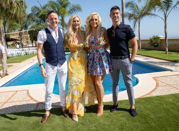 L-R Tom Neville, Jenny Dixon, Michaela O'Neill, Ryan Andrews at wedding of Fair City star, George McMahon and Rachel Smyth, in Nerja, southern Spain. The couple were married with the help of Boyzone singer Keith Duffy. PIC: Mark Beltran/Solarpix.com