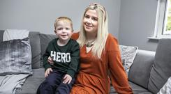 Kristine Beck with her Son Logie Winston (3) who helped her when she fell down the stairs. She has just recently been diagnosed with Narcolepsy which caused the fall.