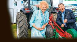 Anna May McHugh and Fr Brian Darcy at the launch of the NAtional Ploughing Championships in Fenagh Co Carlow Pic:Mark Condren 4.9.2019