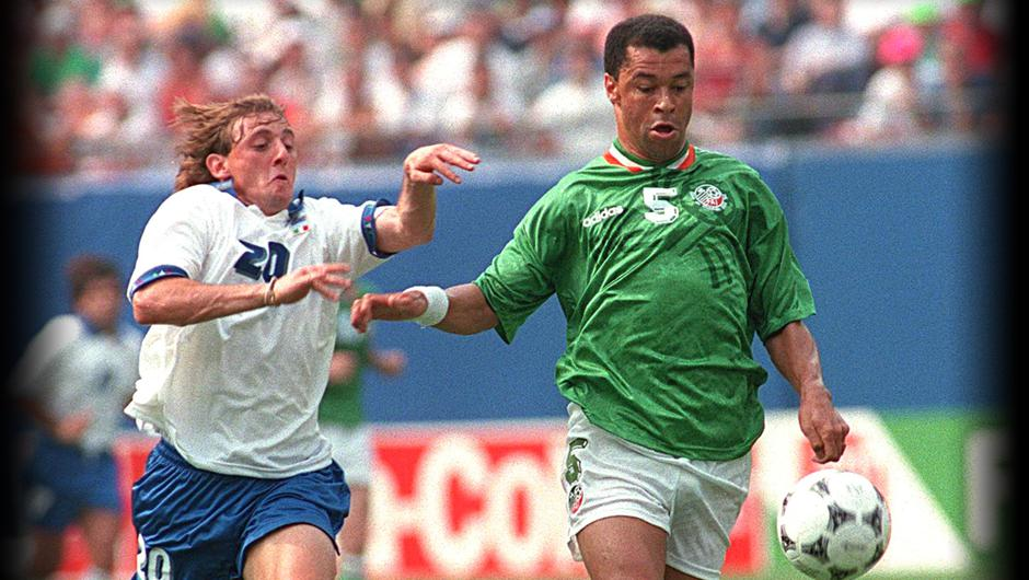 Ireland v Italy 1994 Paul McGrath of Ireland under pressure from Guisippe Signori of Italy � INPHO