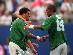 Ireland's Phil Babb, right, with Paul McGrath during the gam eagainst taly, Giants Stadium, New Jersey, USA. Picture credit: Ray McManus / SPORTSFILE