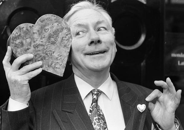 Gay Byrne feeling the love with a Valentine's Day card, February 1993