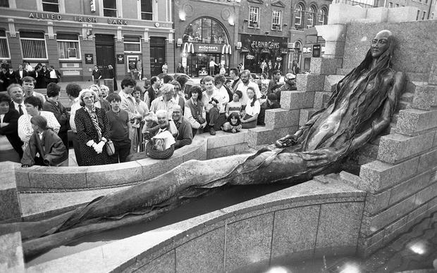 The Anna Livia Statue which was unveiled in Dublin's O'Connell St, 17th June 1988