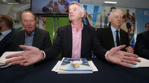 Ryanair boss Michael O'Leary, centre, speaks during the airline's AGM