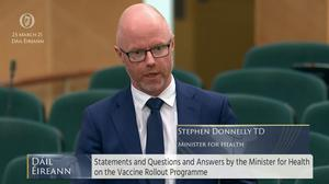 Health Minister Stephen Donnelly said there would be a 'step change' in the number of people being vaccinated from next month (Oireachtas TV/PA)