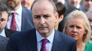 Fianna Fail leader Micheal Martin speaking to the media outside Leinster House, Dublin ahead of the first sitting of the 33rd Dail (PA)