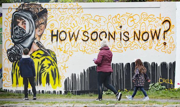 A new mural at Dublin's Grand Canal Docks by the artist CHELS (Chelsea Jacobs) (Niall Carson/PA)