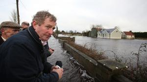 Taoiseach Enda Kenny as he tours the area of Carrick-On-Shannon following flooding