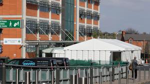 A temporary marquee structure erected on the grounds of the Mater Hospital in Dublin as the coronavirus pandemic continues to place a strain on the health service (Brian Lawless/PA)