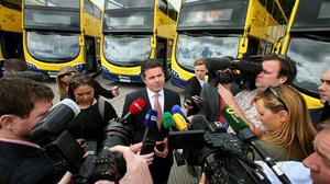 Transport Minister Paschal Donohoe speaks at the unveiling of 90 new state-of-the-art double decker buses in Dublin
