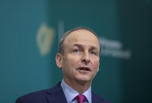 Taoiseach Micheal Martin during a media briefing at Government Buildings, Dublin (Julien Behal Photography/PA)
