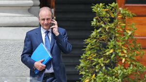 Fianna Fail leader Micheal Martin outside Government Buildings in Dublin
