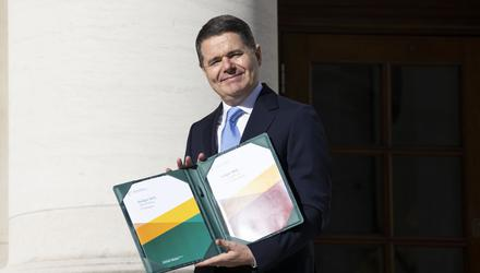 Finance Minister Paschal Donohoe arriving at Government Buildings in Dublin on Tuesday before outlining details of Ireland's next budget (Julien Behal/PA)
