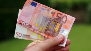 """The Central Bank said 10.9 million euro worth of what it classed as """"mutilated notes"""" were reimbursed in 2015"""