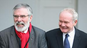 Deputy First Minster of Northern Ireland Martin McGuinness and Sinn Fein leader Gerry Adams at the All-Island Civic Dialogue on Brexit