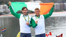 Gary, right, and Paul O'Donovan celebrate winning silver in the Lightweight Men's Double Sculls Final at The Lagoa Stadium in Rio