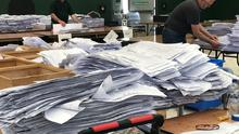 Ballots are sorted during the European Parliamentary elections count centre for Ireland South constituency in Cork (Michelle Devane/PA)