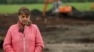 Maria Lynskey on farmland in Coghalstown, Co Meath where the body of her niece Joe Lynskey who was murdered and secretly buried by the IRA, is believed to have been buried