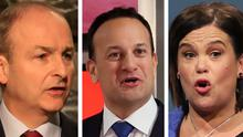 Micheál Martin, Leo Varadkar and Mary Lou McDonald have made some memorable remarks during the election campaign (PA)