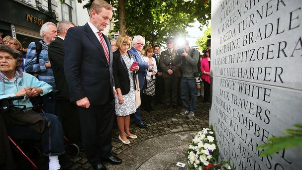 Taoiseach Enda Kenny attends a wreath-laying ceremony to mark the 40th anniversary of the Dublin and Monaghan bombings