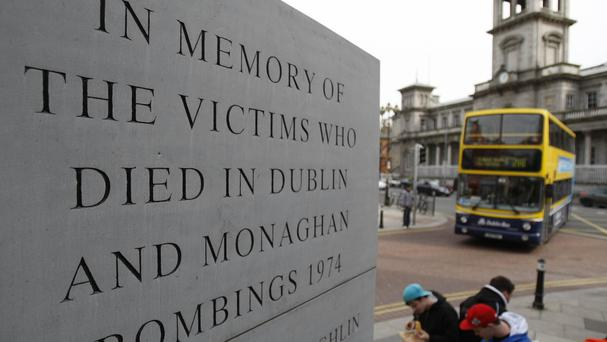 Wreaths were laid at the site of one of three bombs which exploded 40 years ago today in the single worst day of atrocities in the Troubles