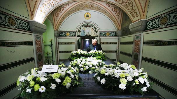 Wreaths are placed inside the tomb of Daniel O'Connell