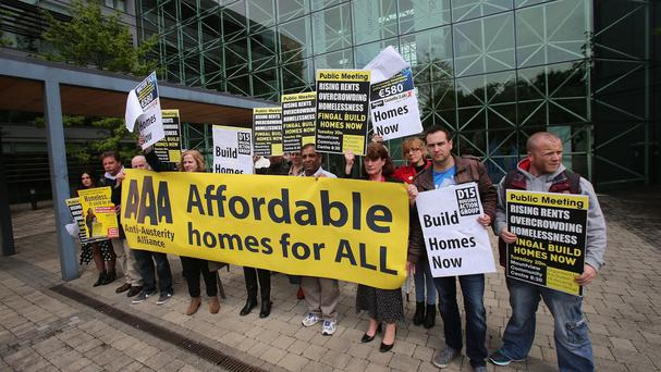 Families hold a peaceful occupation of Fingal council offices in Blanchardstown to demand housing