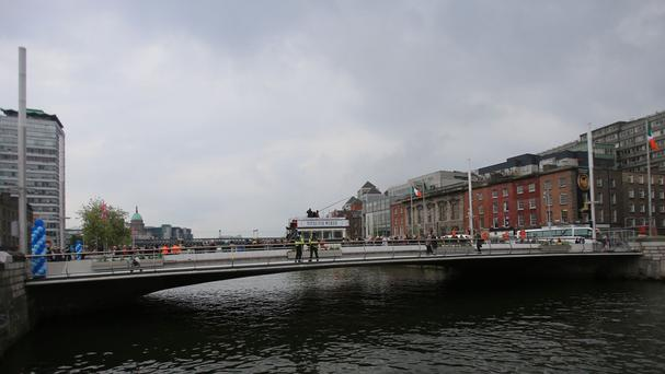 The new public transport and pedestrian bridge named after trade Unionist Rosie Hackett in Dublin