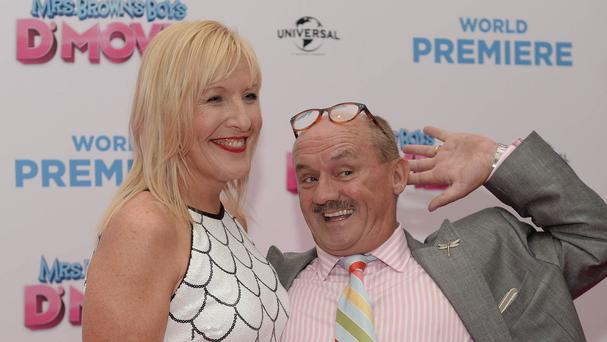 Brendan O'Carroll and Jennifer Gibney attending the world premiere of Mrs Brown's Boys D'Movie at the Savoy Cinema in O'Connell Street, Dublin.