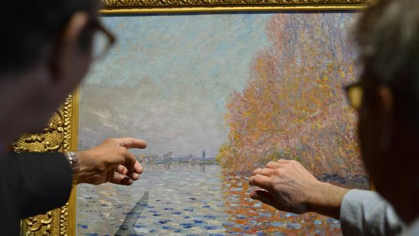 A painting by Claude Monet is once again hanging in the National Gallery of Ireland after a painstaking restoration