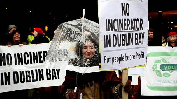 The 600 million euro Poolbeg incinerator has faced some opposition from protesters