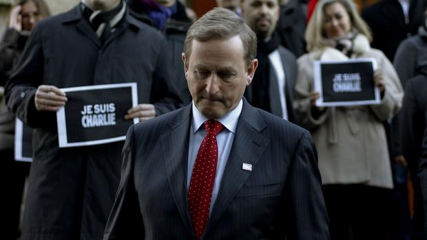 An Taoiseach Enda Kenny after signing the book of condolence, at the Embassy of France in Dublin for the victims of the shootings at the magazine Charlie Hebdo in Paris