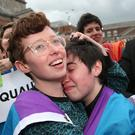 Yes voters celebrating in Dublin, as Ireland's new laws on gay marriage will be enacted by the end of July