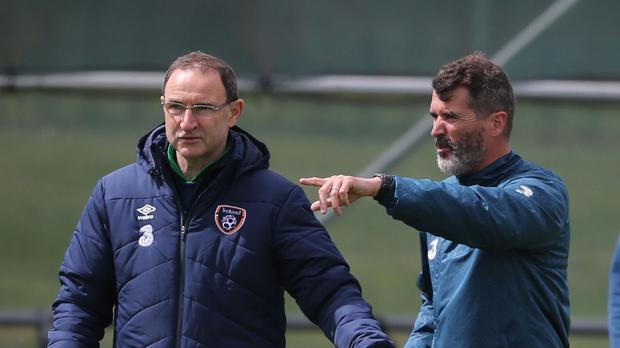 Republic of Ireland manager Martin O'Neill (left) chats to assistant Roy Keane