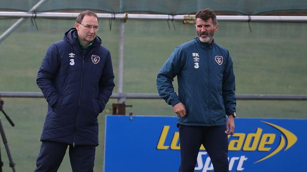 Republic of Ireland manager Martin O'Neill (left) and assistant Roy Keane