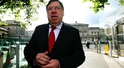 Former taoiseach Brian Cowen arrives at Leinster House to give evidence at the Oireachtas Banking Inquiry