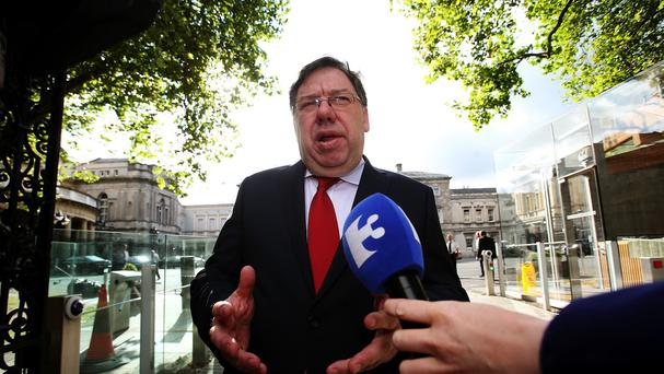 Former taoiseach Brian Cowen arrives to give evidence at the Oireachtas banking inquiry