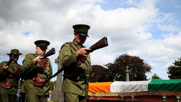 A scale re-enactment of the funeral of O'Donovan Rossa was held for the Centenary Commemoration of his funeral at Glasnevin cemetery in Dublin.