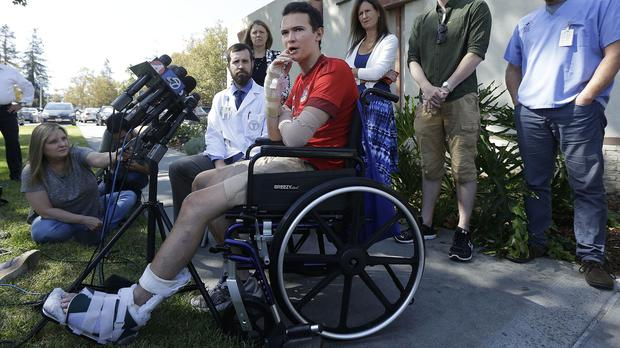 Niall Murray speaks at a news conference at Santa Clara Valley Medical Centre in San Jose (AP)