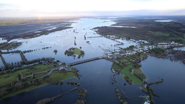 Flooded fields at Shannonbridge in County Offaly