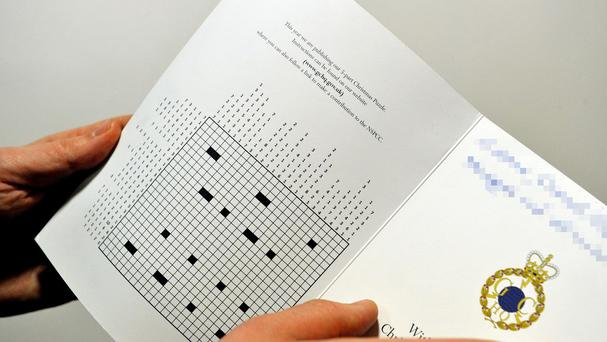 The inside of GCHQ's head-scratching Christmas cryptographic challenge, released in their festive card