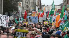 Protesters from across Ireland braved poor weather conditions to take part in the campaign's last major rally before Friday's election