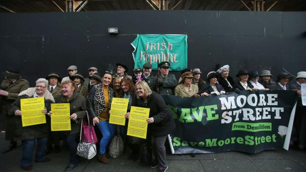 Members of the Save Moore Street 2016 campaign during the Arms Around Moore Street demonstration