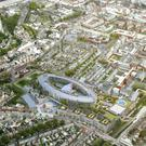 Undated artist impression issued by Children's Hospital Group of an aerial view of the site of the new state-of-the-art children's hospital in Dublin