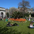 Warm weather at St Stephens Green, Dublin, as forecasters predict a 'mini heatwave'
